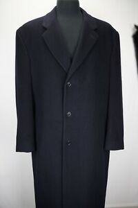 Brooks-Brothers-Black-Cashmere-Blend-Overcoat-Dress-Trench-Jacket-Sz-42R