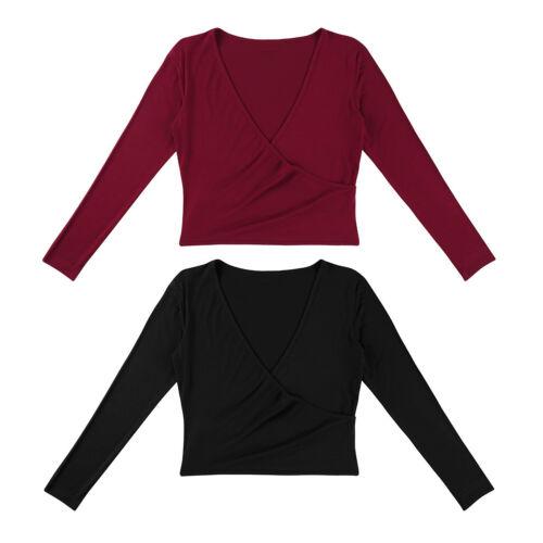 Women Latin Ballet Dance Cardigan Top Wrap Tie Long Sleeve Sweaters Shrug Shawl