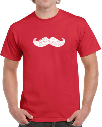 067 Mustache mens T-shirt facial hair beard burly man vintage retro college new