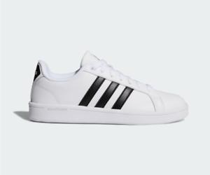 Details about Adidas Cloudfoam Advantage White Leather Sneakers Womens 7.5 Black Stripe