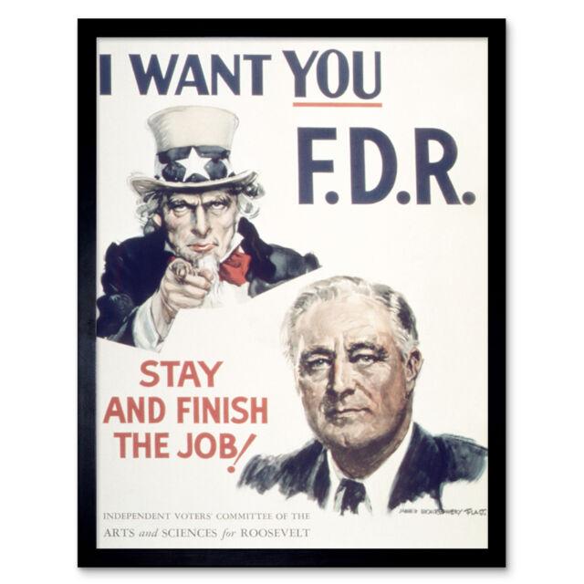 Flagg Fdr Roosevelt Uncle Sam President Usa Vintage Advert Print Framed 12x16 Ebay
