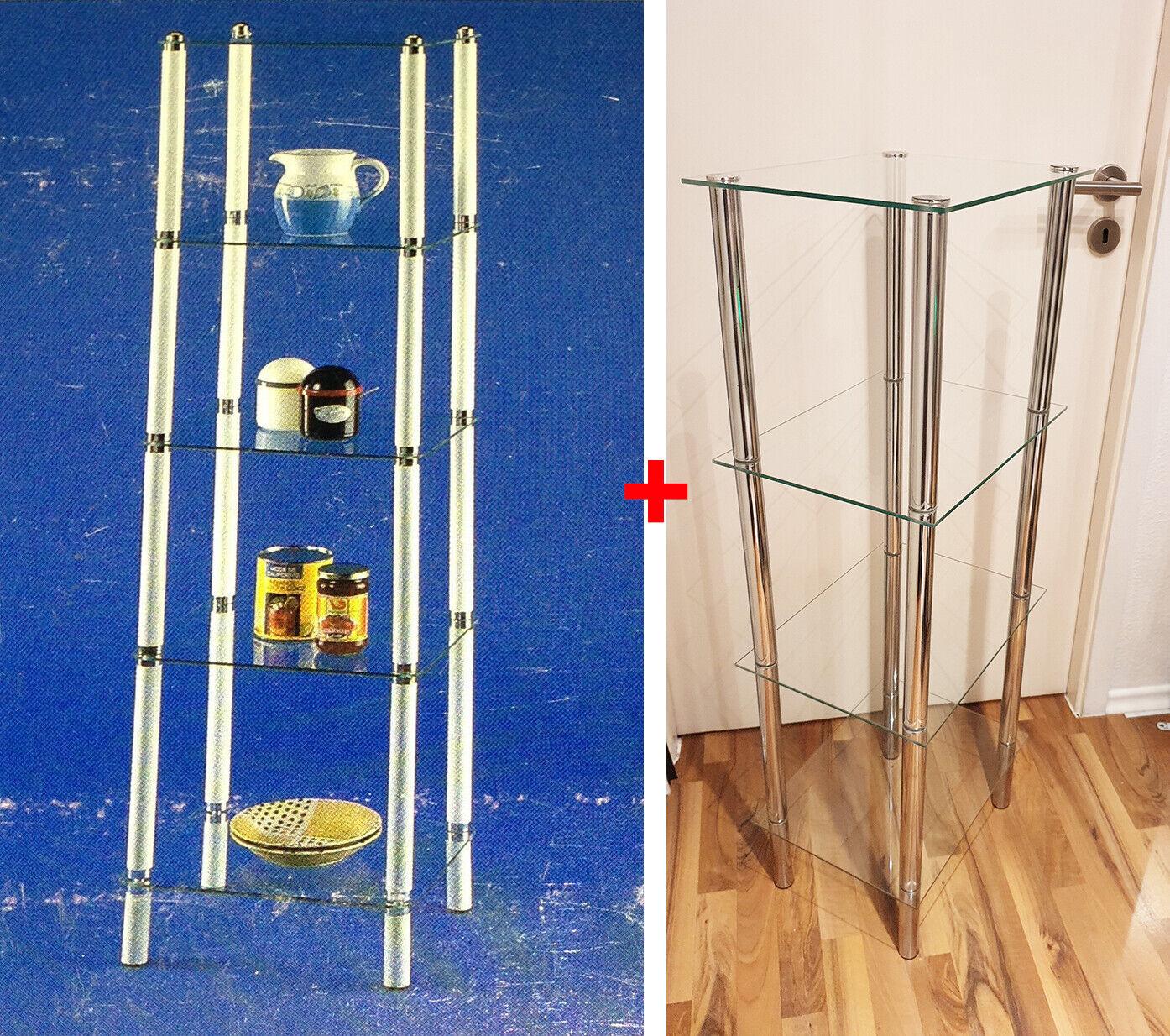 2x GLAS REGAL BEISTELLTISCH TISCH SIDEBOARD BAD ABLAGE SCHRANK CHROM
