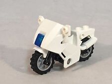 LEGO Motorcycle White Touring Bike with Translucent Dark Blue Light Kick Stand