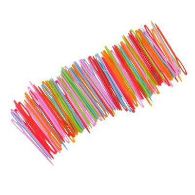 100Pcs Colorful Children Plastic 7cm Needles Tapestry DIY Sewing Wool