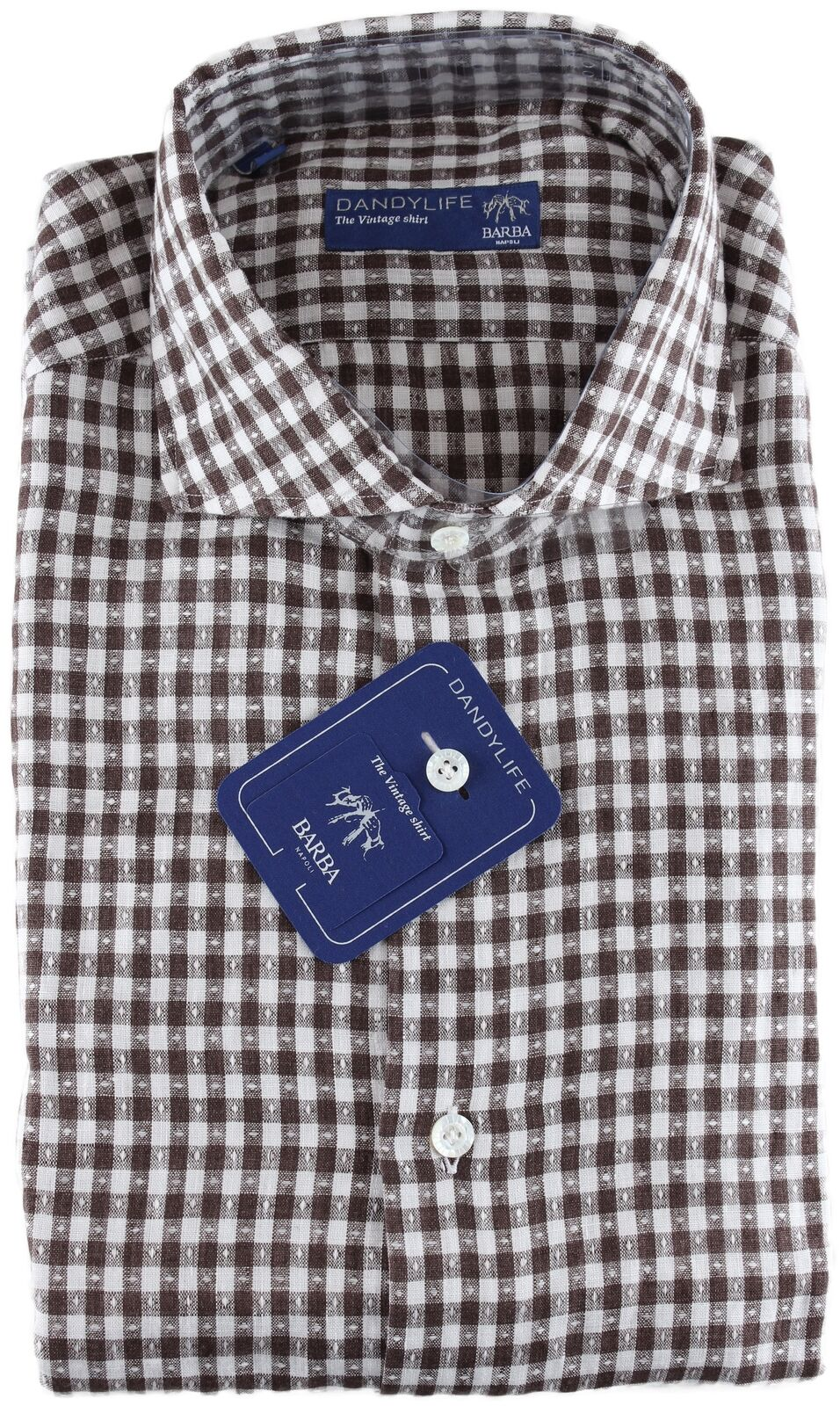NWT BARBA NAPOLI hemd dandy life checked braun & Weiß linen handmade 40 15 3 4