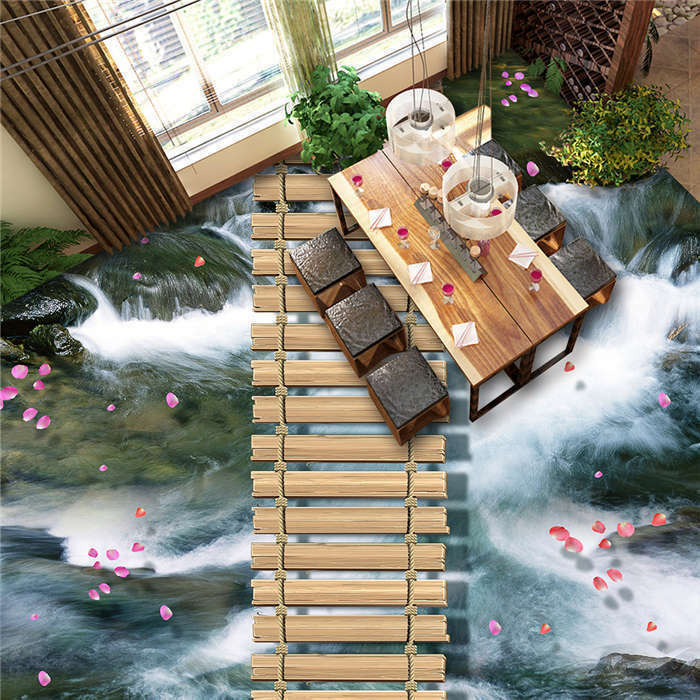 Popular Waterfall Wood Path 3D Floor Mural Photo Flooring Wallpaper Wall Decal