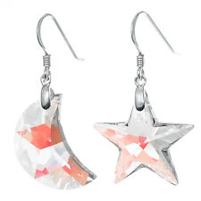 Moon & Star Swarovski Element Crystal Dangle Sterling Silver French Hook Earring