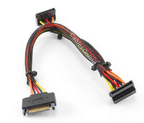 "Splitter 15/"" SATA 15-Pin Male to 2 SATA 15-Pin Female"