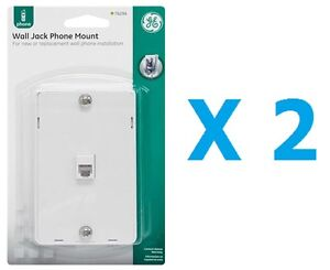 GE PhoneJack Wall Mount phone Outlet 6-Wire Conductor RJ11 RJ12 White- Pack of 2