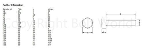 M10//10mm A4 Marina Grado Acero hexagonal Tornillo totalmente Perno Roscado Hex Set