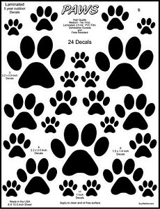 24 Dog Paw Stickers Decals. Stickers, Laminated. 1 - 3 Inch Sizes.