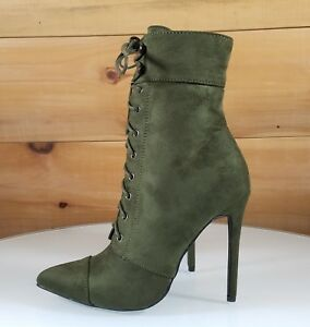 15104932277 So Me Kayla Olive Army Green Pointy Toe Lace Up High Heel Ankle Boot ...