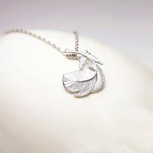 Solido-925-plata-esterlina-Grueso-Puffy-Pluma-Ala-De-Angel-Hoja-Collar-en-Caja