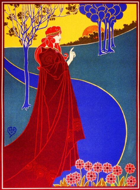 Red Haired Maiden Vintage French Nouveau France Poster Print Art Advertisement