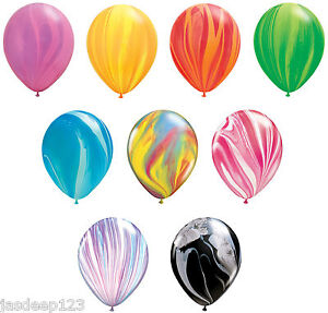 SuperAgate Black /& White Marbled 11/'/' Latex Qualatex Balloons x 25