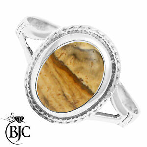 Bjc-Plata-de-Ley-Piedra-Preciosa-Anillo-Vestir-Jaspe-Ovalado-Solitario-Talla-O