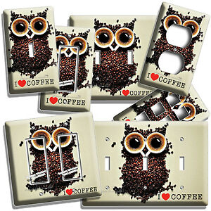 Image Is Loading I LOVE HEART COFFEE BEANS OWL LIGHT SWITCH
