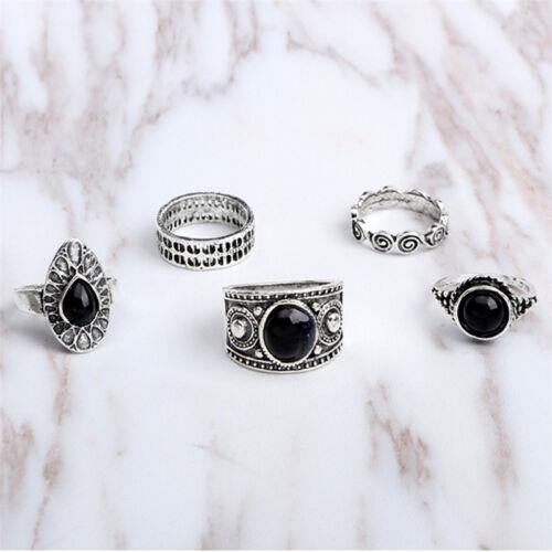 5 Stück Vintage Ring Antik Natur blau Stein Midi Finger Ringe türkischen RingZP