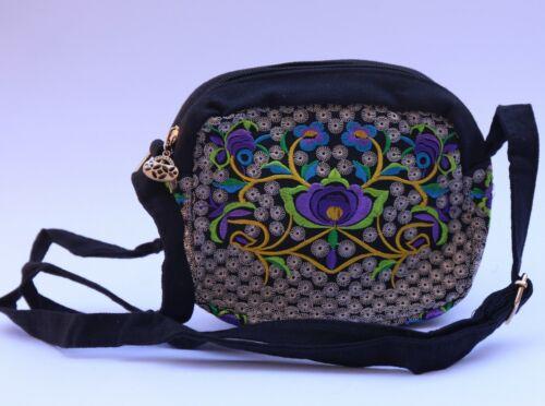 Women Children Small Embroidered Flower Floral bag Travel Handbag Rucksack US SE