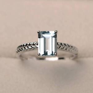 1-48-Ct-Natural-Diamond-Engagement-Aquamarine-Ring-Emerald-14K-White-Gold-Size-L