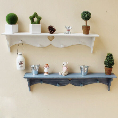 White-Wall-Mounted-Shelf-Display-Hanging-Book-Rack-Storage-Holder-With-Hook