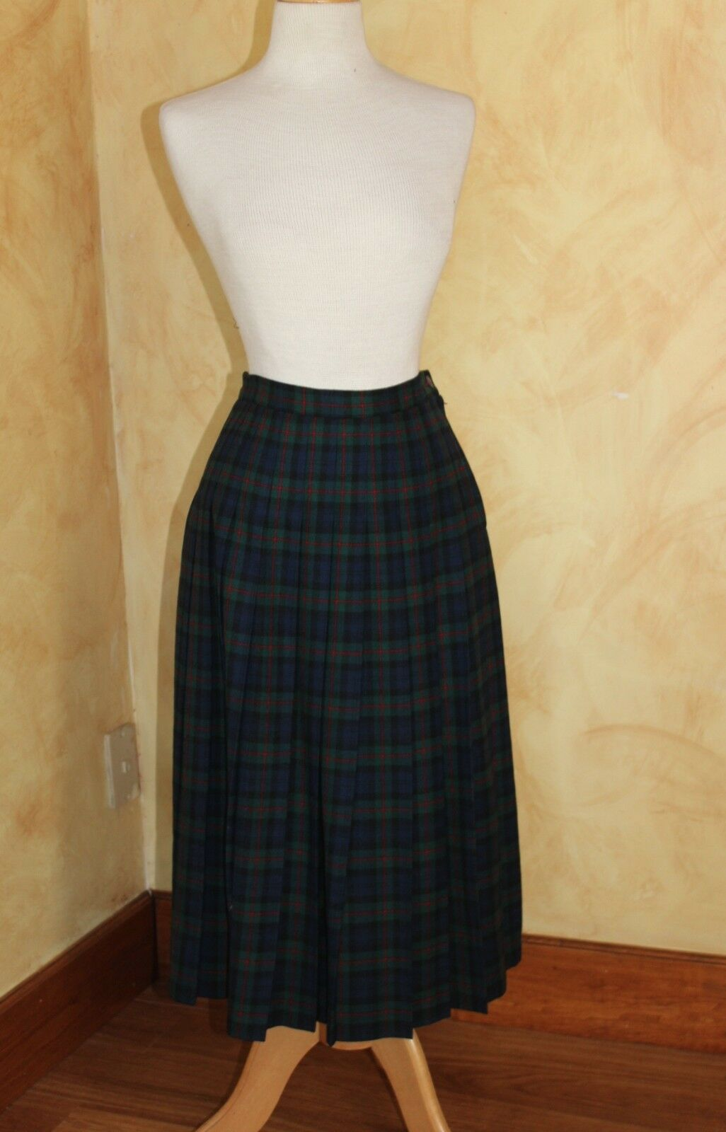 Pendleton  Sz 6P 6 P Authentic Argyle Green Plaid Tartan Pleated Skirt
