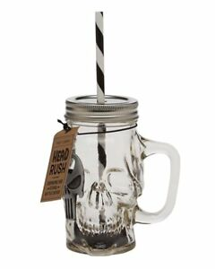 NEW-Skull-Drinking-Glass-Mason-Jar-With-Straw-And-Bottle-Opener