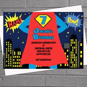 personalised birthday superhero party invitations boys cape x 12