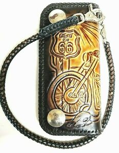 Leather-biker-trucker-motorcycle-Right-or-Left-hand-Chain-Wallet-route-66-tooled