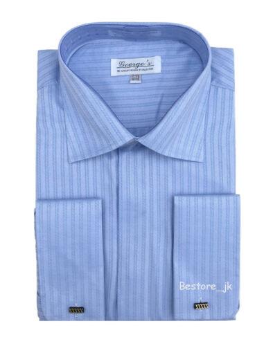 Men/'s French Cuff Jacquard Stripe Classic Dress Shirt #30 Light Blue
