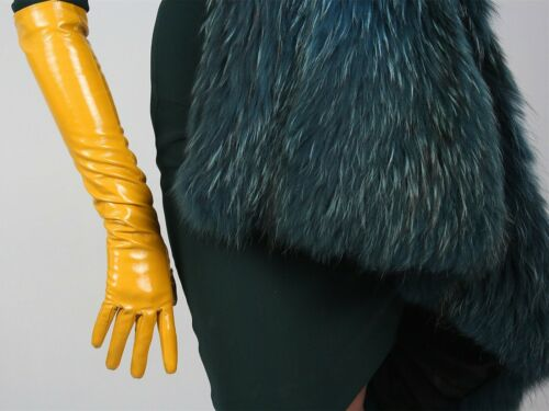 "Latex Long Gants Shine Cuir Faux Verni polyuréthane 11/"" 28 cm Opera jaune moutarde"