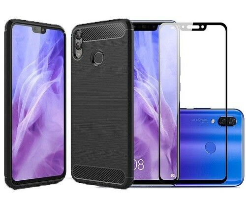 for Huawei Honor 8x Case Carbon Cover & Full Glass Screen Protector