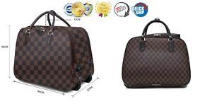 Travel-Bag-Holdall-Luggage-Weekend-Handbag-Wheeled-Trolley-Bag-Stars-Check-Print