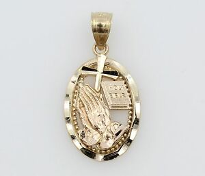 14K-Solid-Real-Yellow-Gold-Small-Praying-Hands-Bible-Cross-Diamond-Cut-Pendant