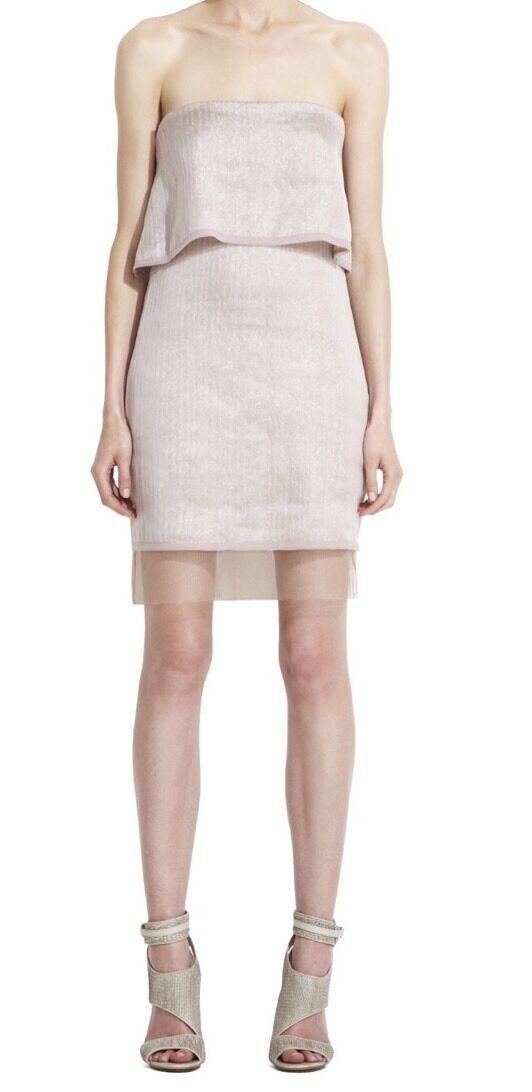 NWT  288 BCBG Max Azria Azria Azria Mauvepink Light Pink Singrid Strapless Dress Size 12 022538