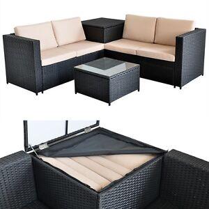 Rattan gartenmöbel sofa  Rattan Lounge + Tisch und Kissenbox in Schwarz Garten Sofa Lounge ...