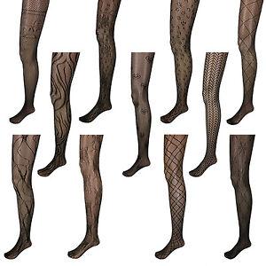 Black-Pattern-Net-Lace-Stockings-Fishnet-Tights-Pantyhose-Nylons-US-New