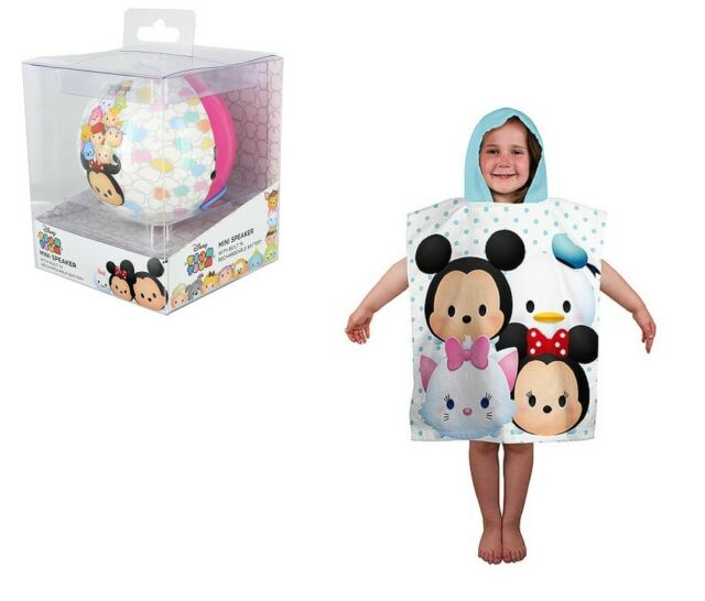 Disney Tsum Wired Mini Rechargeable Speaker and Towelling Poncho