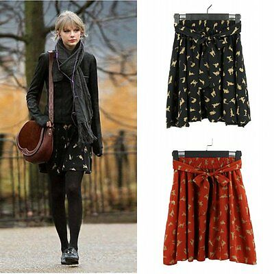 New Women High Waist Bow Belt Cat Print A-Line Mini Chiffon Skirt Size 6 8 10