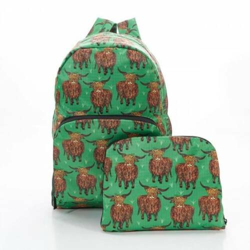 FOLDABLE BACKPACK IN GREEN HIGHLAND COW PRINT Rucksack Bag BY ECO CHIC
