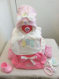 3 Tier Cutest Lil Baby Face Diaper Cake Baby Shower Centerpiece Boy Girl Unisex