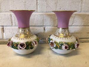 Vintage-Possibly-Antique-Porcelain-Manner-of-Old-Paris-Pair-of-Floral-Rose-Vases