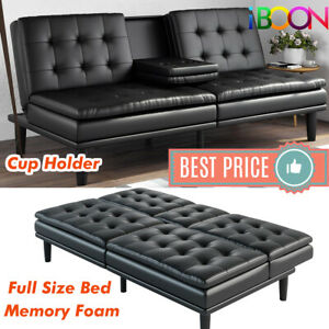 Details about Memory Foam Sofa Bed Couch Convertible Futon Leather Cup  Holder Pillow Top Black