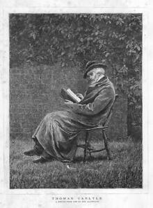 1876-Antique-Print-PORTRAITS-Thomas-Carlyle-Mrs-Allingham-Man-Book-Chair-102