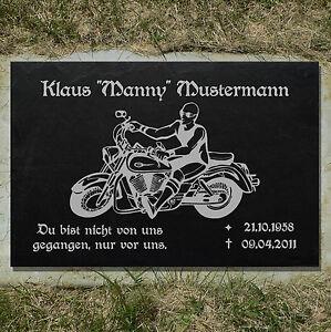 Historische Baustoffe Motiv◄ 35 x 25 cm Grabstein GRABPLATTE Grabmal Biker 01►Gravur mit Inschrift