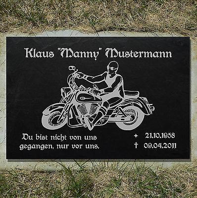 Grabstein GRABPLATTE Grabmal Biker 01►Gravur mit Inschrift Motiv◄ 35 x 25 cm