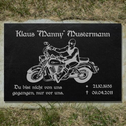 Grabstein GRABPLATTE Grabmal Biker 01►Gravur mit Inschrift + Motiv◄ 35 x 25 cm