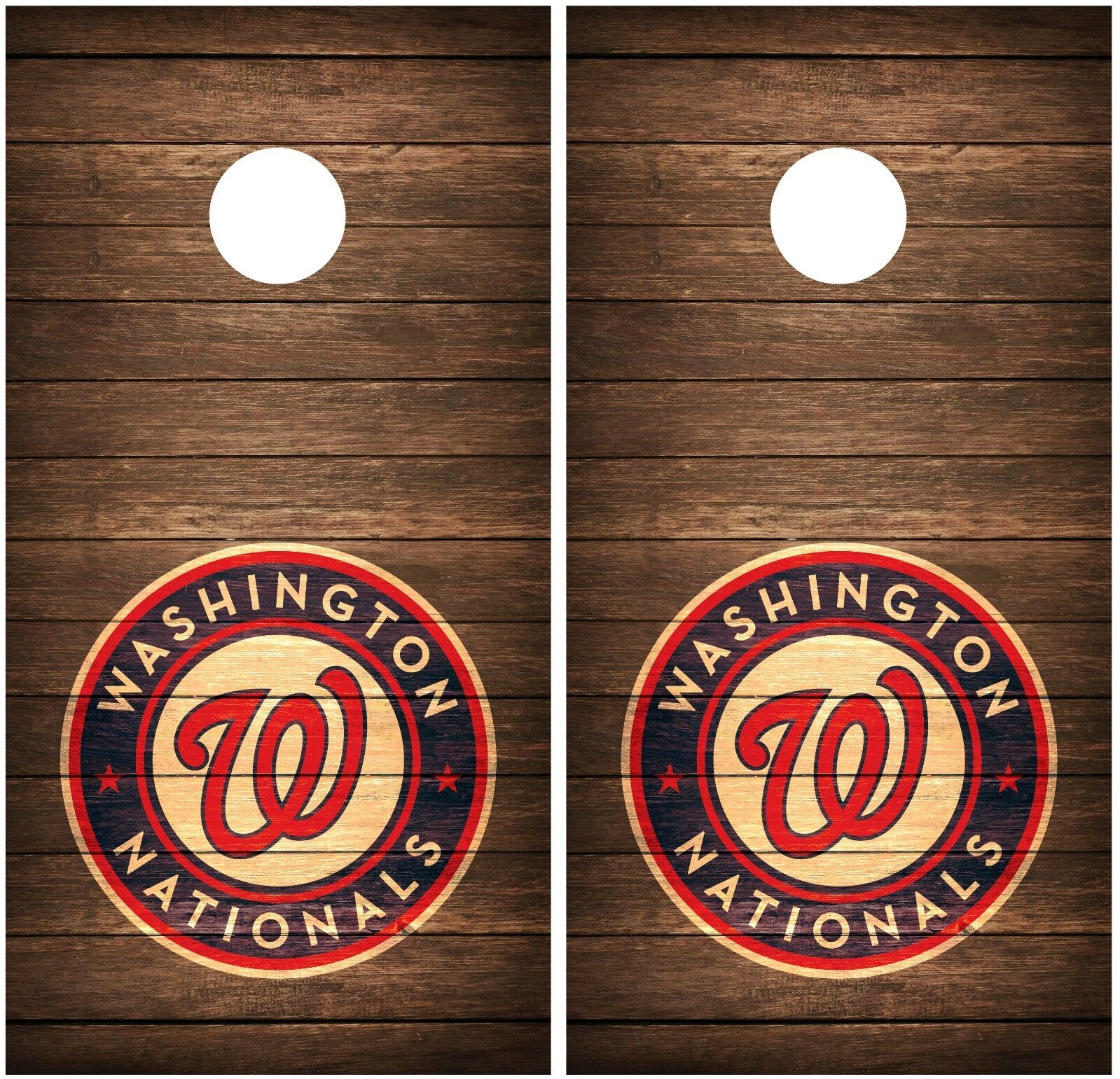 Washington Nationals Vintage Wood Cornhole Board Decal Wrap Wraps  (brown)  online at best price