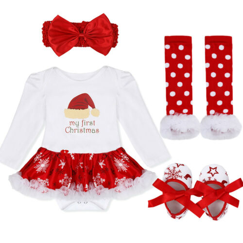 Baby Girl Xmas Tutu Romper Dress Christmas Outfit Fancy Costume Casual Clothes