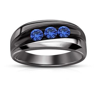 14K Black Gold Over Round Diamond 3 Stone Engagement Wedding Men/'s Ring 925 Silver